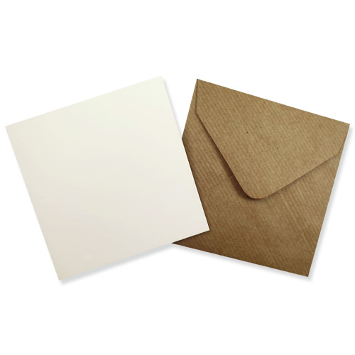 100MM SQUARE IVORY CARD BLANKS WITH RIBBED KRAFT ENVELOPES (PACK OF 10)