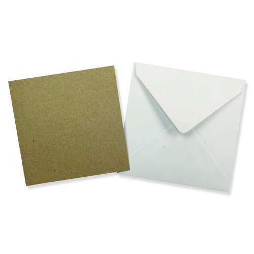 100MM SQUARE KRAFT CARD BLANKS WITH WHITE ENVELOPES (PACK OF 10)