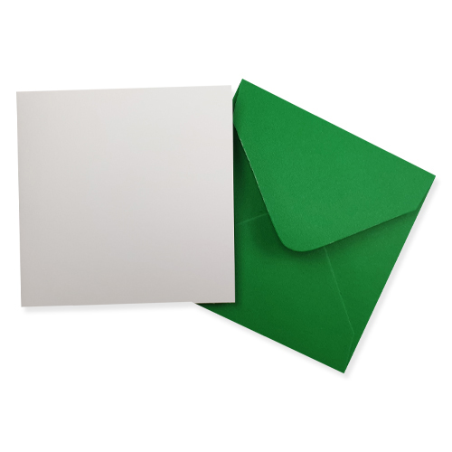 100MM SQUARE WHITE CARD BLANKS WITH GREEN ENVELOPES (PACK OF 10)