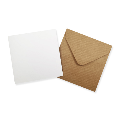 100MM SQUARE WHITE CARD BLANKS WITH RIBBED KRAFT ENVELOPES (PACK OF 10)