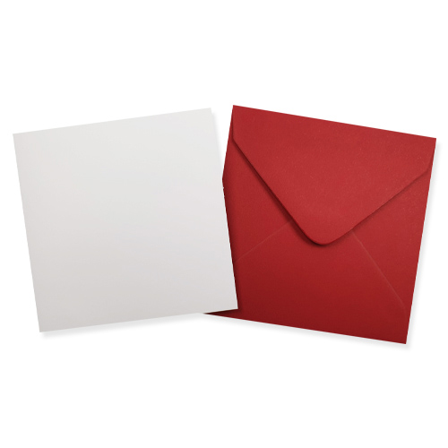 100MM SQUARE WHITE CARD BLANKS WITH RED ENVELOPES (PACK OF 10)