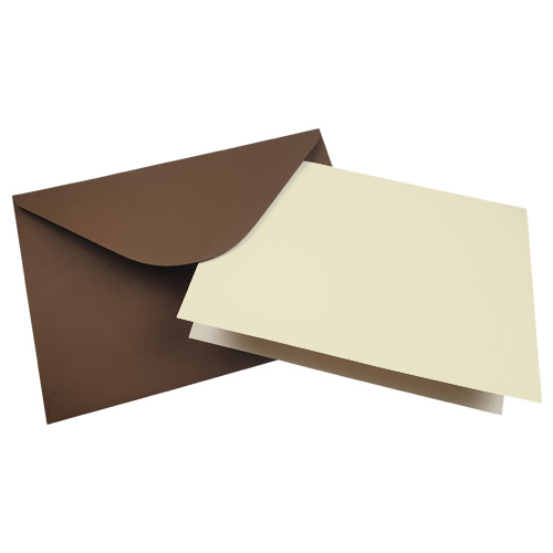 A5 IVORY CARD BLANKS AND CHOCOLATE BROWN ENVELOPES (PACK OF 10)