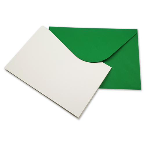 A5 WHITE CARD BLANKS AND GREEN ENVELOPES (PACK OF 10)