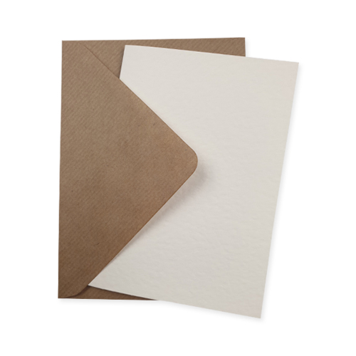 A6 IVORY HAMMER CARD BLANKS & RIBBED KRAFT ENVELOPES (PACK OF 10)
