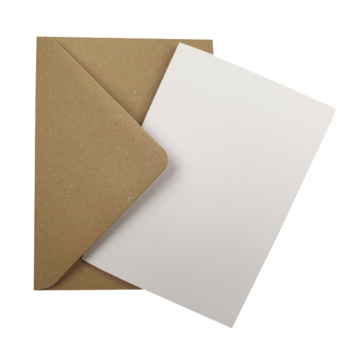 A6 WHITE CARD BLANKS & FLECK KRAFT ENVELOPES (PACK OF 10)
