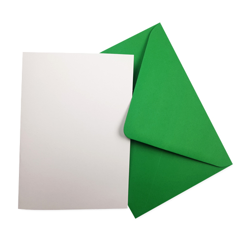 A6 WHITE CARD BLANKS & GREEN ENVELOPES (PACK OF 10)