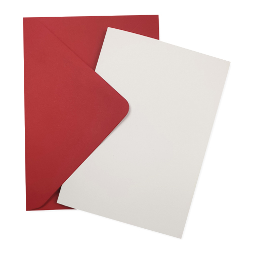 A6 WHITE CARD BLANKS & RED ENVELOPES (PACK OF 10)