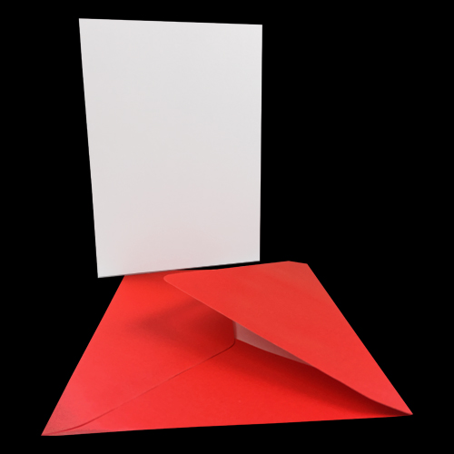 A6 WHITE CARD BLANKS & PEARLESCENT RED ENVELOPES (PACK OF 25)