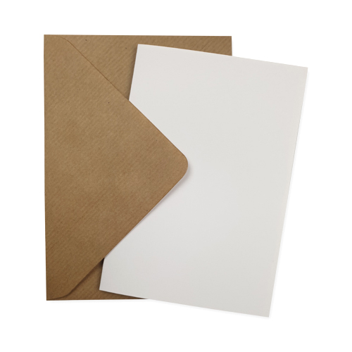 A6 WHITE CARD BLANKS & RIBBED KRAFT ENVELOPES (PACK OF 10)